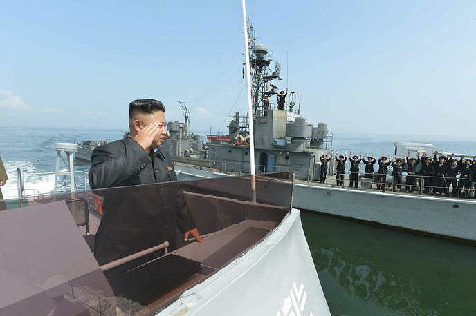 In July 2012, Kim Jong-un was promoted to wonsu, the highest active rank in the military. Photo: Kim Jong-un saluting to military servicemen on a Navy ship after inspecting a military landing drill participated by the People's Army's ground, naval, air and anti-air forces