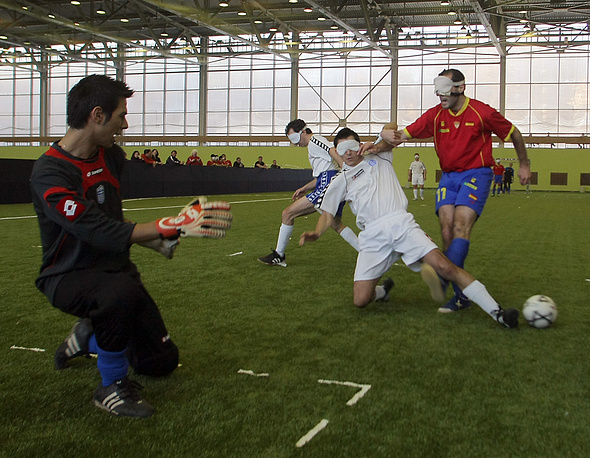 Photo: National teams of Spain and Greece play at the Second International Football Tournament for visually impaired in Moscow, January  24, 2010
