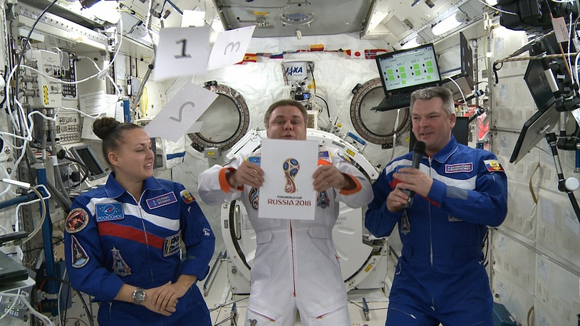 The crew of the International Space Station (ISS) helped to present the emblem