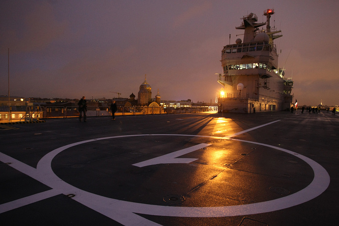 The first Mistral-class ship, the Vladivostok, was expected to be delivered by late 2014. Photo: View of the bridge and Heliport 1 on the flight deck of France's Mistral assault ship