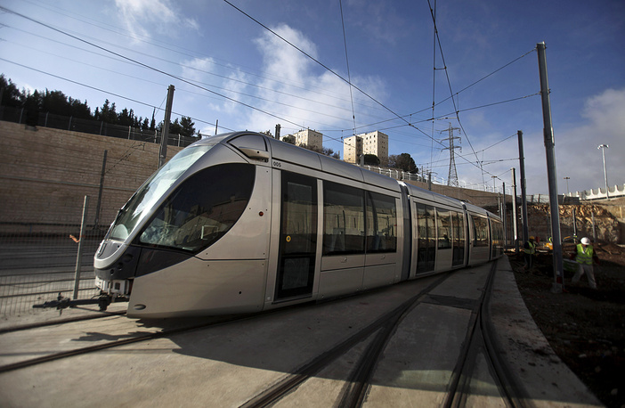 Photo: a new car of the light train is seen at the depot next to the neighborhood of Shuafat in east Jerusalem, 2009