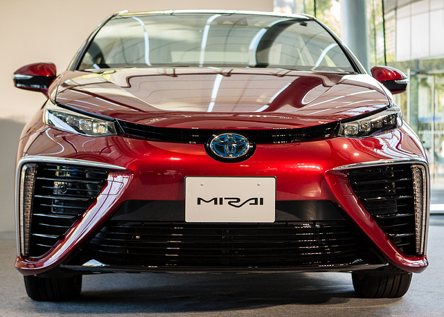 Toyota Motor Corporation's all-new fuel cell vehicle (FCV) sedan called 'Mirai' which means future in Japanese, Tokyo, Japan, 18 November 2014. Model will go on sale in Japan on 15 December 2014 with a price tag of approximately  $62,000
