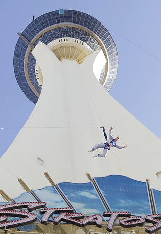 Las Vegas' Stratosphere skyjump with an official height of 253m is highest commercial skyjump in the world
