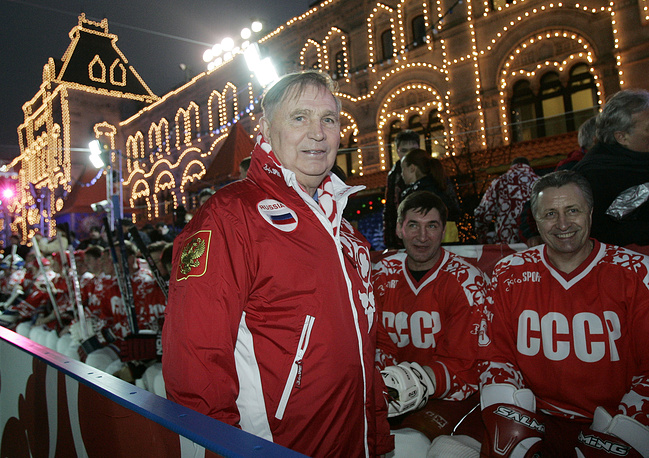 Viktor Tikhonov stands at the Team USSR bench prior to the charity ice hockey match at the Moscow's Red Square, 2006