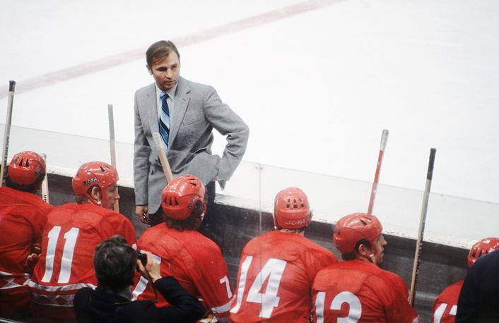 Soviet ice-hockey team coach Viktor Tikhonov, 1979