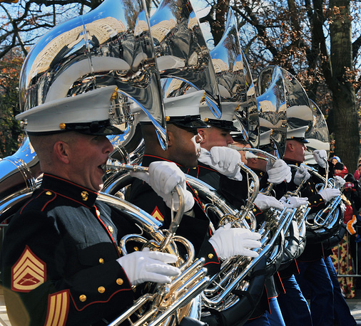 The United States Marine Corp Band marches in the Macy's 87th Annual Thanksgiving Day Parade in New York City, USA, 2013