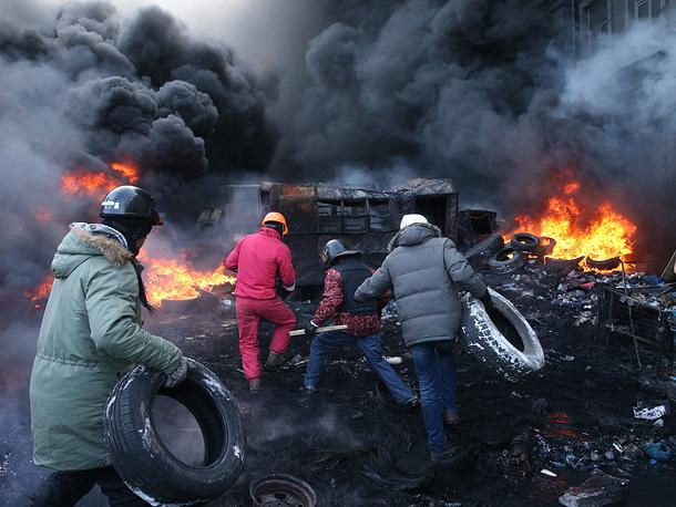 Clashes on Grushevsky Street in downtown Kiev