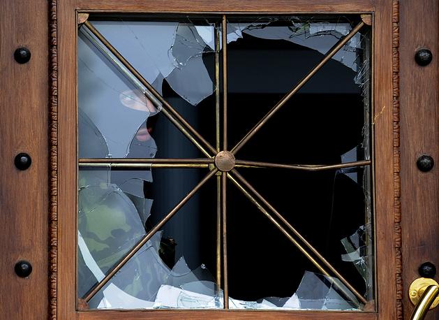 A broken window of the building of the Lugansk regional prosecutor's office