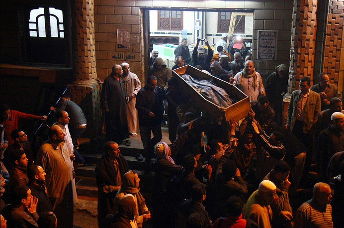 Journalist Mayada Ashraf was killed during clashes between Egyptian police and Muslim brotherhood supporters on March 28. She worked for the El-Dustour newspaper. Photo: Funeral of Mayada Ashraf in Cairo