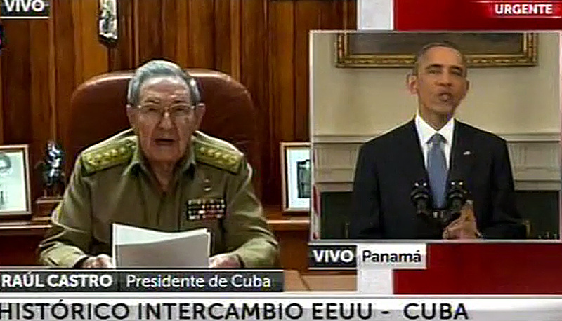 Cuban President Raul Castro announced the resumption of diplomatic ties with the United States in an appearance on Cuban television simultaneously to that of US President, Barack Obama, from Washington