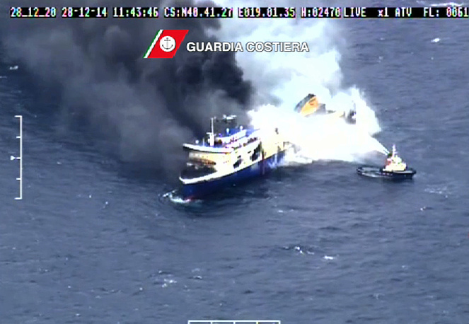 """Italy said that the fire-fighting operation was over on board the ferry, but Greece only officially confirmed that """"the fire was contained and put under control"""