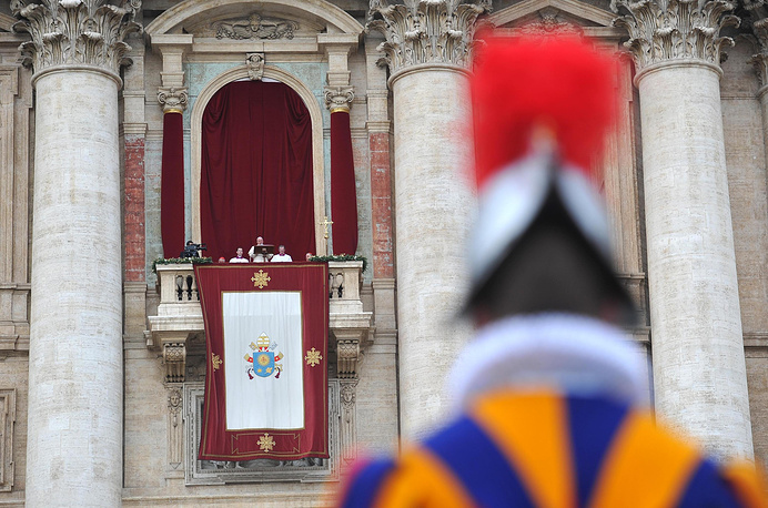 "The Pope traditionally delivers his ""Urbi et Orbi"" (to the city and to the world) blessing from the central balcony of St. Peter's Basilica at the Vatican on December 25"