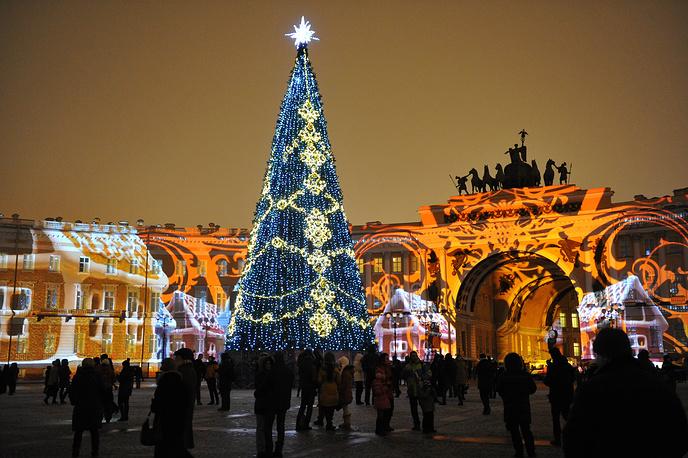 Festive illuminations at St Petersburg's Palace Square