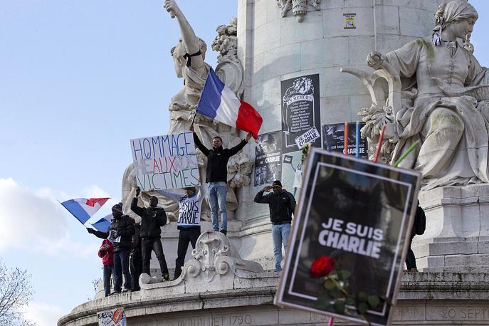 A three-kilometer march started on Place de la Republique and ended on Place de la Nation
