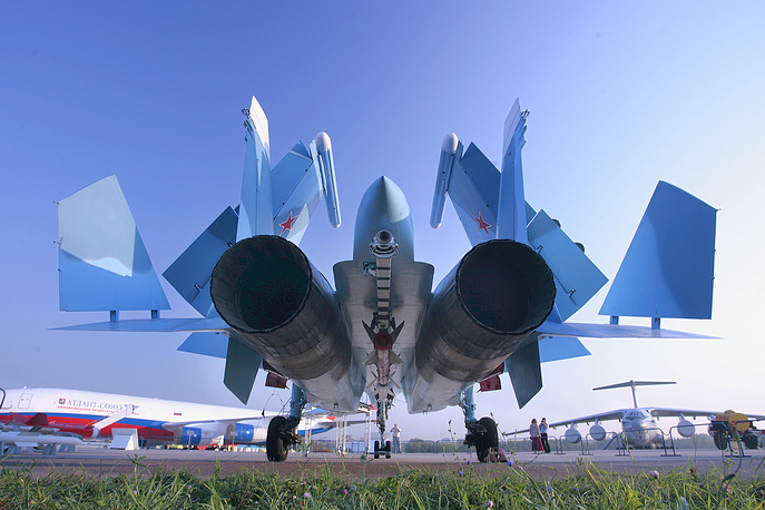 Su-33 naval fighter jet on display at the MAKS-2007, the International Aviation and Space Show in Zhukovsky, outside Moscow
