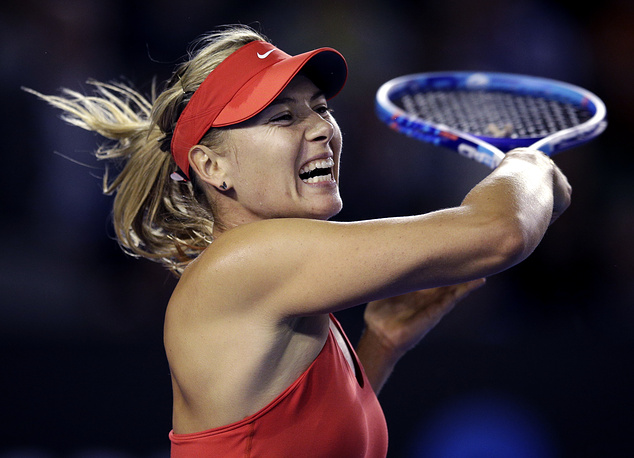 Photo: Maria Sharapova plays a shot to Petra Martic during their first round match at the Australian Open 2015