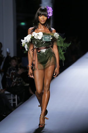 Model Naomi Campbell wears a creation by French designer Jean-Paul Gaultier