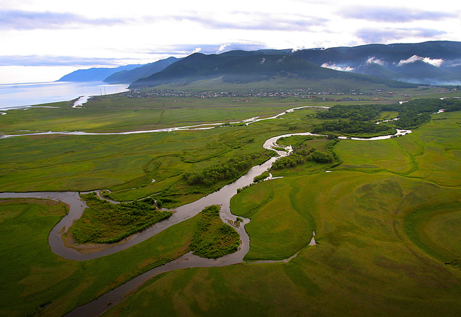 Baikal is also thought to be the world's oldest lake at 25 million years. Photo: Helicopter view of lake Baikal