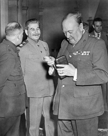 Soviet Marshal Joseph Stalin and British Prime Minister Winston Churchill in Yalta, 1945