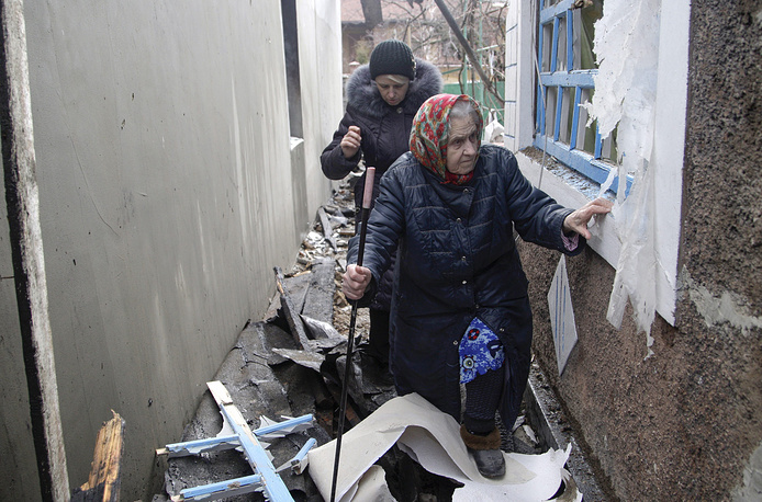 "The ""indiscriminate"" shelling of the Donetsk and Luhansk regions has been on the rise and most incidents have been reported in residential areas. Photo: Damaged building in Donetsk"
