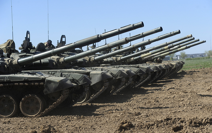 T-72B3 tank is a modernized T-72, a major battle tank of its generation taken into service in 1974. The modernized version features new communication systems, fire control system and a more powerful engine. Photo: T-72B3 tanks during military exercises