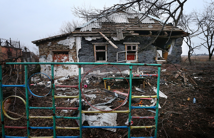 A house damaged during military operations in Veseloye village near the Donetsk airport