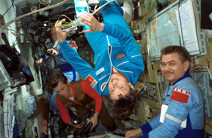 Svetlana Savitskaya (center) was on her second mission when she spaced-walked on July 25, 1984