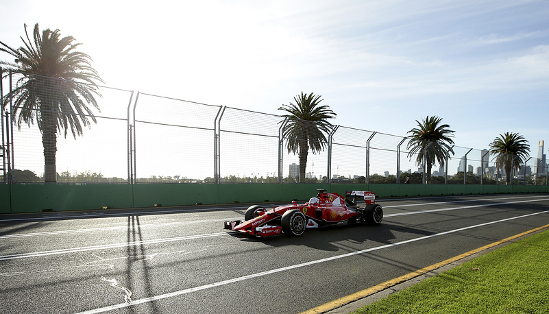 Four-time Formula One World Champion Sebastian Vettel of Germany races as a Ferrari driver for the first time at the Australian Formula One Grand Prix. Photo: Vettel's car during the second practice session at Albert Park in Melbourne