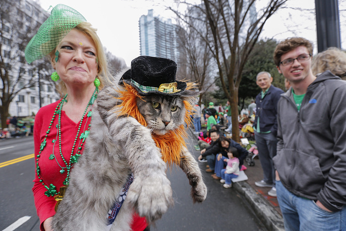 Participants of Atlanta St. Patrick's Day parade in USA