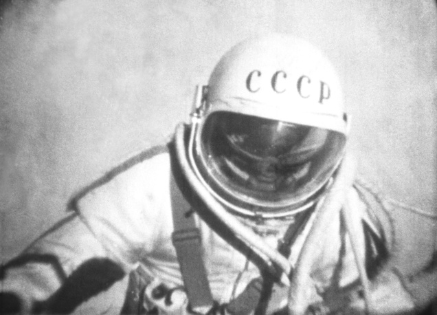 Soviet cosmonaut Alexey Leonov took part in the Voskhod 2 flight. On March 18, 1965 he conducted extra-vehicular activity (EVA), exiting the capsule for the first ever spacewalk which lasted 12 minutes and nine seconds. Leonov moved five meters away from the capsule. Photo: Cosmonaut Alexey Leonov leaving Voskhod-2 space ship, 1965