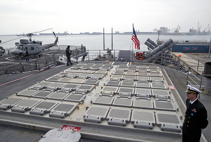 US marine servicemen stand by missile launch pads on the deck of the USS Vicksburg in the Black Sea port of Constanta, March 15