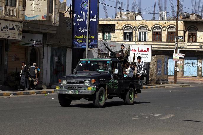 Members of Houthi militia in Sana'a, Yemen