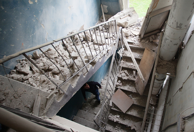 A building damaged during a shelling attack in Donetsk's Kievsky District