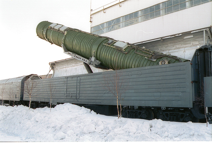 Test launch of a railway-based missile in Russia, 2002 (archive)