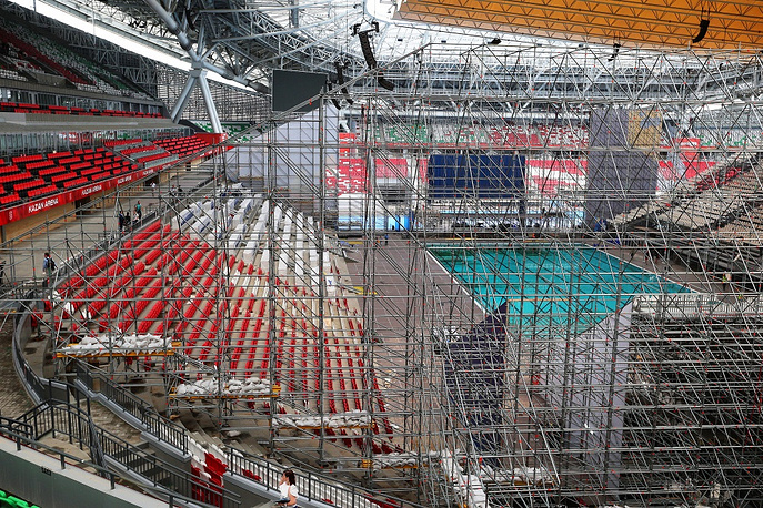 The first football match was held in the stadium August 17, 2014