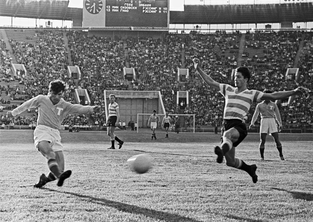 Back in 50's the stadium was named the Central Lenin Stadium. Photo: A football match at the stadium, 1958