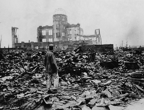 A huge expanse of ruins left the explosion of the atomic bomb on August 6, 1945 in Hiroshima