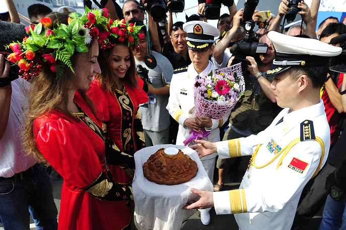 Wwelcoming ceremony for seven Chinese warships that have arrived in Vladivostok
