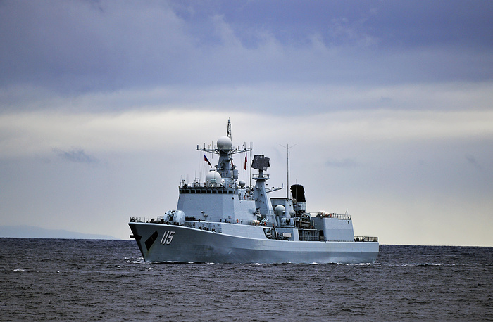 The Chinese Shenyang destroyer during the joint Russian-Chinese military exercises