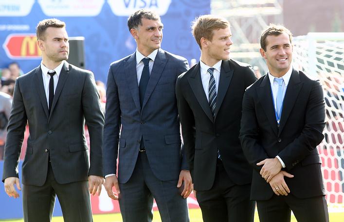 Igor Akinfeev, Vladimir Gabulov, Alexander Kokorin and Alexander Kerzhakov of the Russian national football team