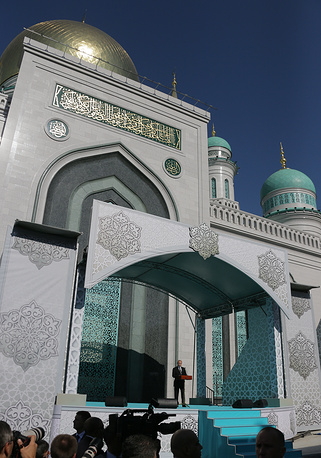 Russian President Vladimir Putin at the opening of the Moscow Cathedral Mosque after a major reconstruction