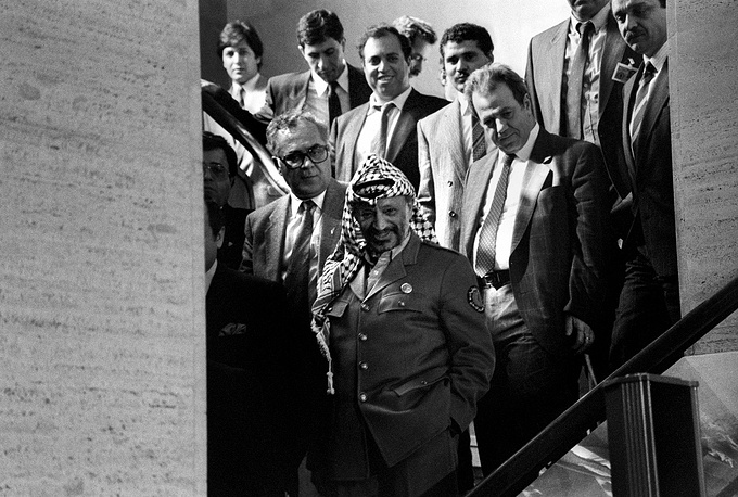 "On November 13, 1974 Palestinian leader Yasser Arafat made his first appearance at the UN General Assembly and, in particular, said, referring to Israel: ""Today I come bearing an olive branch in one hand, and the freedom fighter's gun in the other. Do not let the olive branch fall from my hand"""