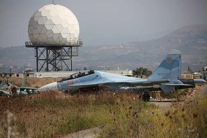 Sukhoi Su-30SM fighter aircraft at the Hmeymim airbase