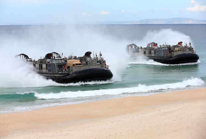 US Navy hovercrafts at Raposa Media beach in Pinheiro da Cruz, south of Lisbon