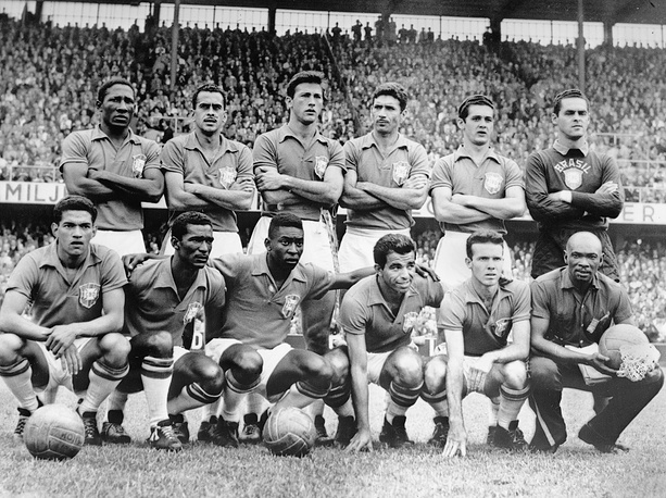 Pele played for Brazil national team from 1957 to 1971 and won with this team three world Championships (1958, 1962, 1970). Photo: Brazil's national soccer team before the World Cup final against Sweden in Stockholm, 1958. Brazil defeated Sweden 5-2 to win the World Cup