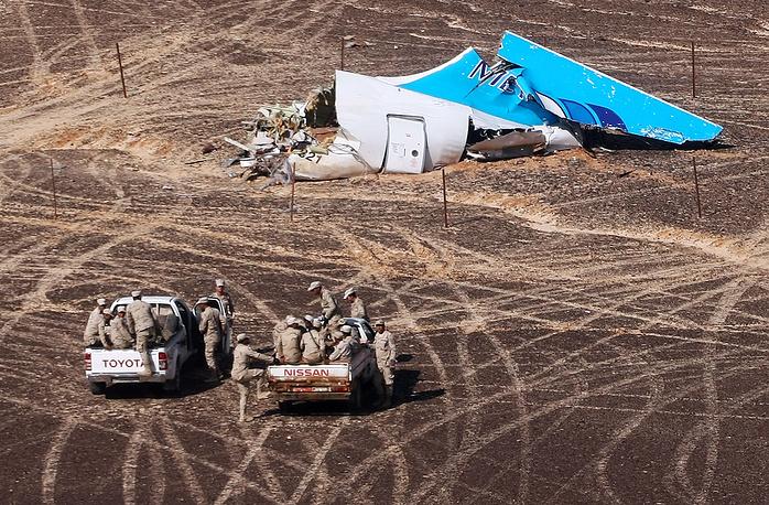 The site of Russian Airbus A321 crash in Egypt's Sinai Peninsula near El Arish city
