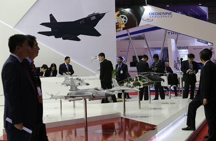 The stand of a Chinese company at the 2015 Dubai Airshow