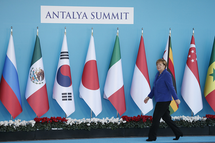 German Chancellor Angela Merkel at the G20 summit in Antalya