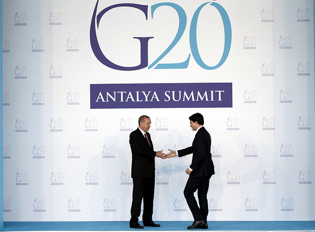 Turkish President RecepTayyip Erdogan and Canadian Prime Minister Justin Trudeau