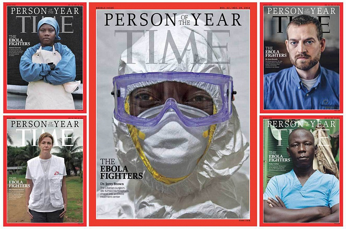 """""""Ebola fighters"""" were named Time's People of the Year 2014. The photograph of Dr. Jerry Brown, the medial director and general surgeon at the Eternal Love Winning Africa Hospital in Monrovia, Liberia was put in the center of the cover"""